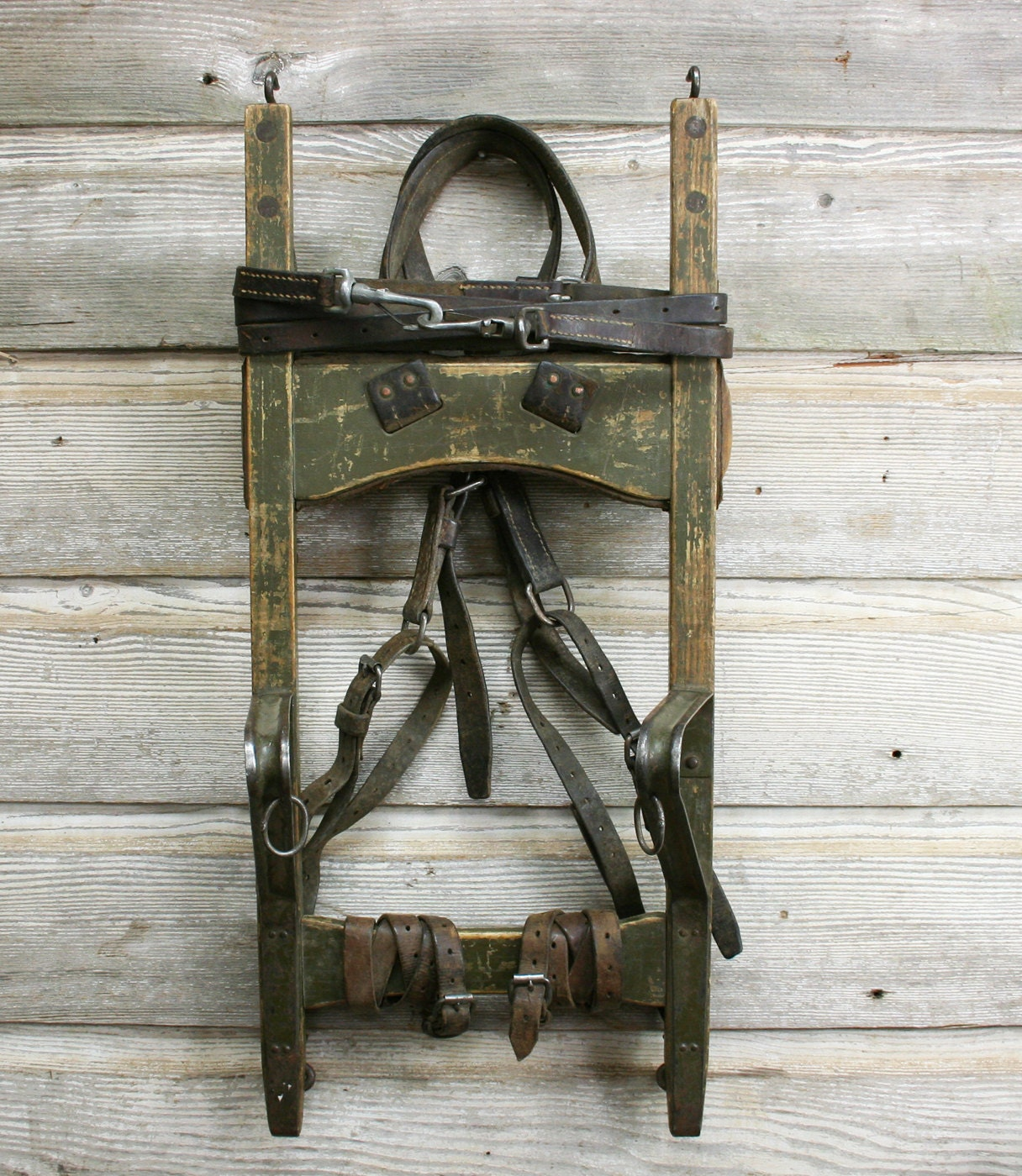 Vintage Wood And Leather Backpack Red Cross Frame Pack