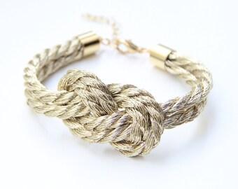 Gold cord Knot Bracelet - 24k gold plated