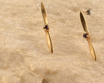 14kt or Silver Propeller Sapphire Earrings
