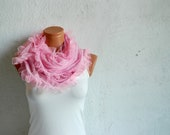 Women shawl, scarves. Pink Frilly, fancy flower pattern sim. wedding,bridal,authentic, romantic, elegant