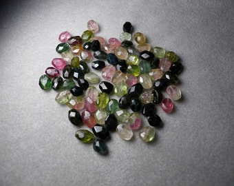 Green and Black Tourmaline Faceted Ovals 5mm-8mm