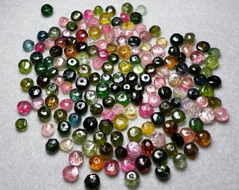 Natural Tourmaline Faceted Rondelle Beads 3mm  -  4mm