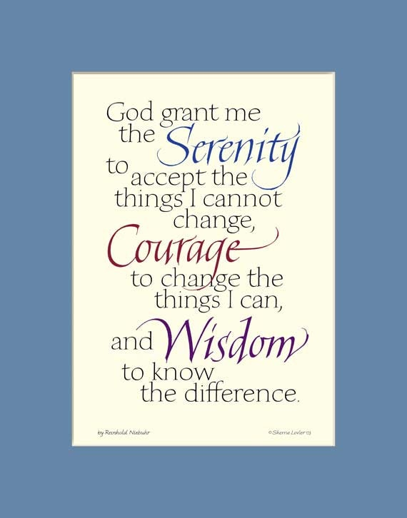 Serenity Prayer Print In Beautiful Calligraphy By