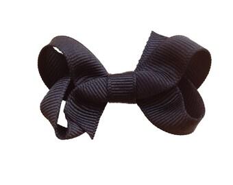 Black boutique bow - small black hair bow, small bows, baby bows, toddler bows, girls hair bows, girls bows, black bows
