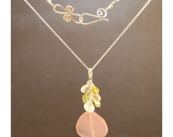 Cluster of cherry quartz, peridot, large rose chalcedony Necklace 1-33