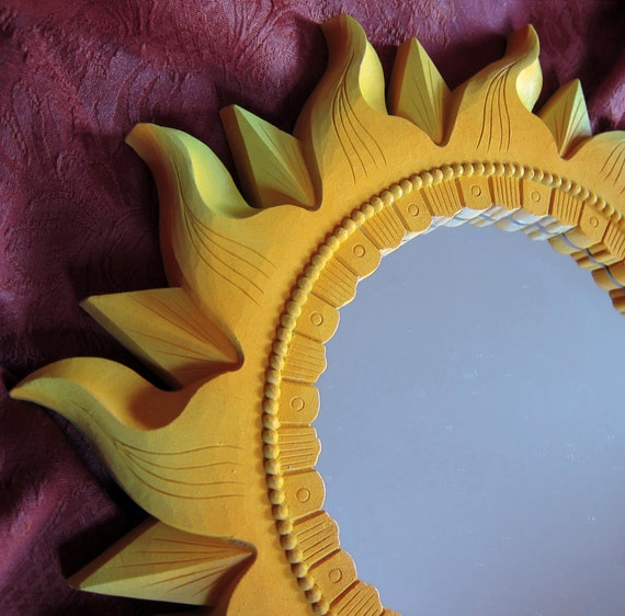 Bright Upcycled Sunburst Accent Mirror Golden Yellow Lime Green Home Interiors Hand Painted