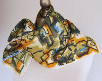 1950s ladies square scarf , vintage scarf, 50s fashion, abstract scarf, rockabilly, genuine vintage