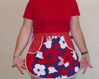 SALE Half Apron Red White and Blue - Size Medium