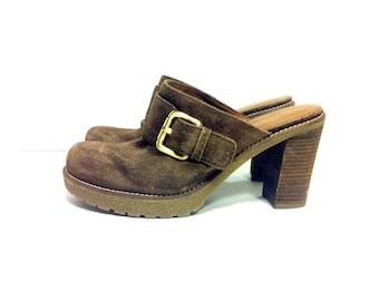 REDUCED~ Platform Leather Clogs 6.5 - Slip On Chunk Heel Hippie Clogs 6.5