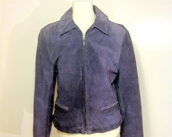 Womens Purple Leather Jacket Small - 90s Fitted Motorcycle Jacket - Small