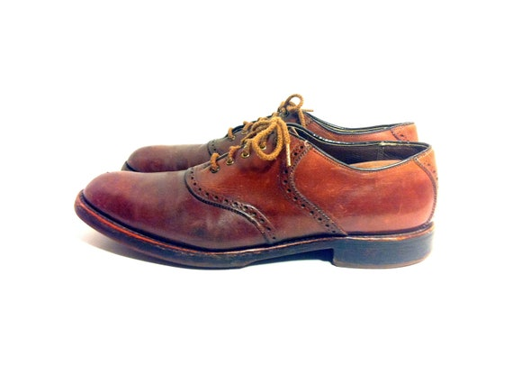 Mens Oxblood Leather Saddle Oxfords 13 Lace Up Brogues