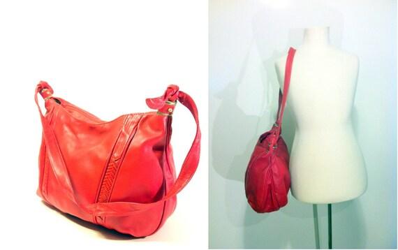 Vintage Red Leather Hobo Bag - Slouchy Shoulder Purse - Snakeskin Leather Bag