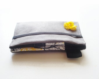 iPhone 5 wallet case, iPhone case, cell phone case, iPhone 4 wallet, iPod case, Samsung case, grey and yellow, womens gift idea