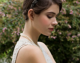 Chic Vintage Inspired Black and White Bridal Pheasant Feather Headband Hairpiece