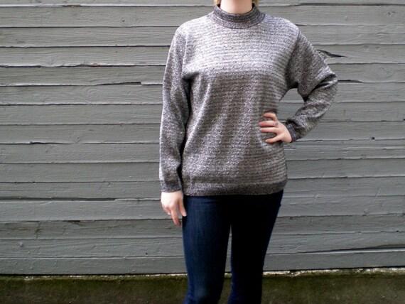 vintage 80s metallic sweater. black & silver sparkle. retro clothing.