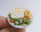 SALE Food Jewelry Chicken Salad Ring, Miniature Food Ring, Miniature Food Jewellery, Handmade Jewelry, Mini Food Jewelry Chicken Ring Kawaii