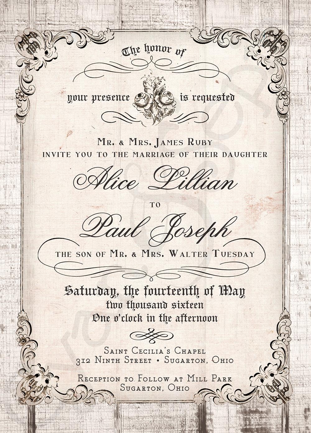 printable 5x7 wedding invitation antique calligraphy wood