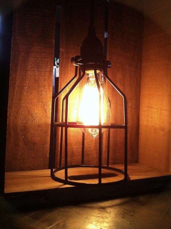 Industrial Single Edison Bulb light, Caged Light