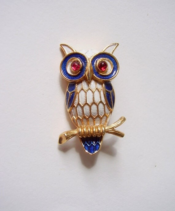 Crown Trifari Enameled Owl Brooch Red Glass Eyes