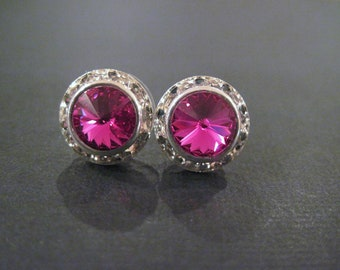 Fuchsia Swarovski Crystal Studs/Crystal Halo Earrings/Bridesmaid Earrings/Wedding Jewelry/Crystal Halo Studs/Pink Crystal Earrings