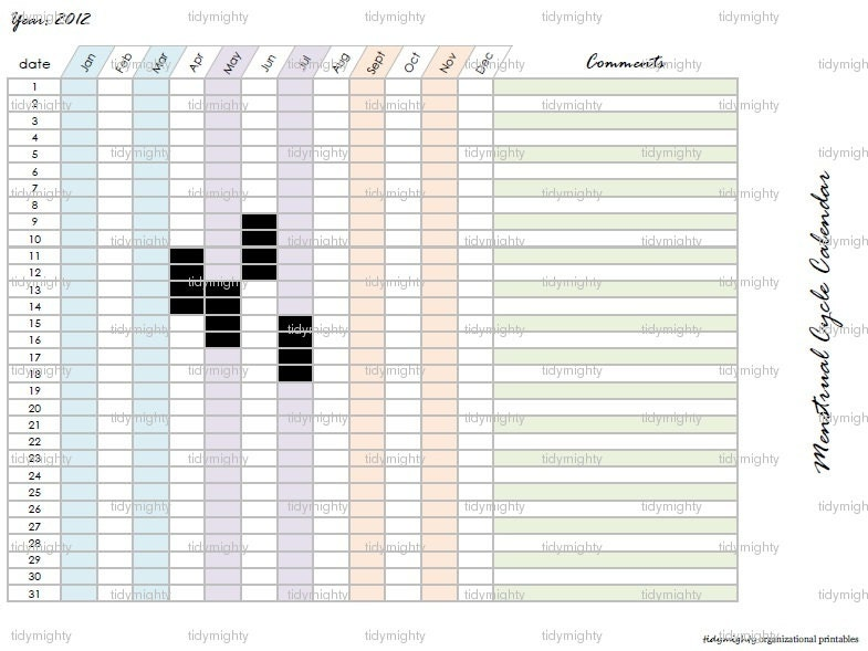 Menstrual Cycle Calendar / Tracker Printable PDF by tidymightyMenstrual Cycle Calendar Printable