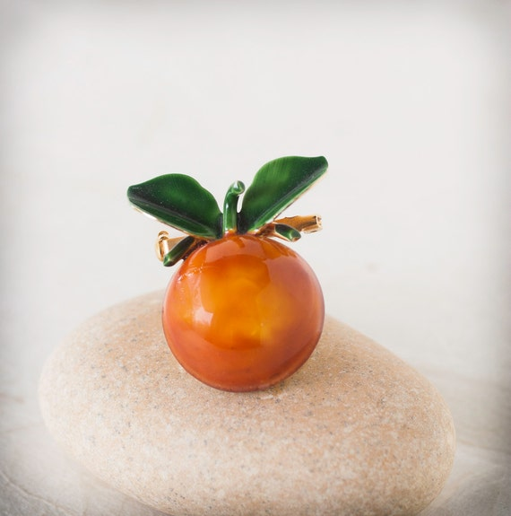 Vintage Robert Originals Fruit Brooch Orange with Leaves