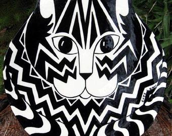 Geometric Cat Plate Handmade Cats By Nina Unique