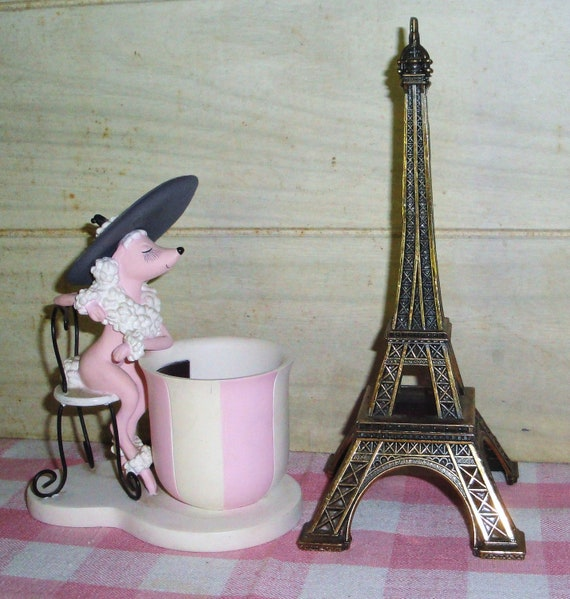Pink Poodle Cup Figurine And Eiffel Tower Paris By