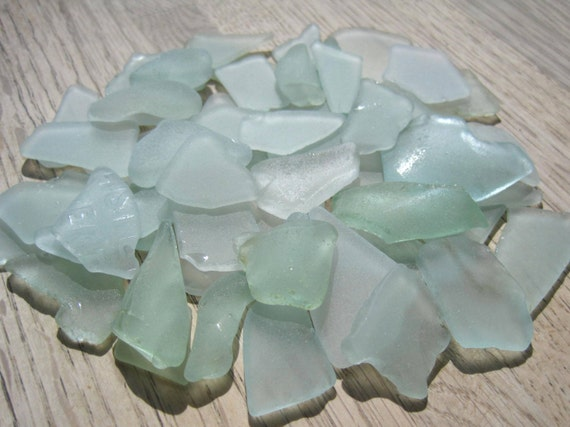 Bulk sea glass beach decor seafoam green light blue for Seafoam green home decor