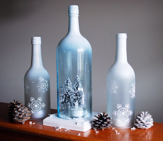 Winter Wonderland Wine Bottle Hurricane Candle Holder Set
