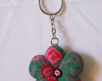 pink grey flower sock keyring
