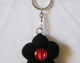 black flower sock keyring