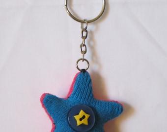 blue pink star sock keyring