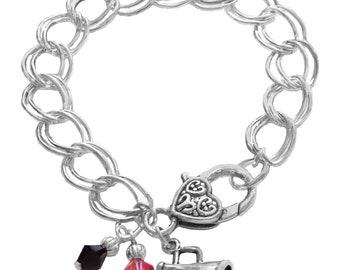 Personalized, Cheerleader,Charm Bracelet,Team Color,Swarovski Bracelet,Cheerleading Gift,Cheer Mom,Cheer Jewelry,Coach Gift, (Made to Order)