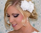 Silk Bridal Hair Flower Duo with Crystal and Pearl Center, 3.25 & 2.75 Inch Wedding Fascinator, White or Ivory, Style 2024, Made to Order