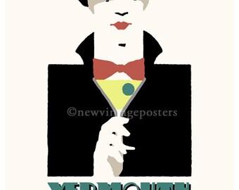 Art Deco Martini pierrot giclee poster print