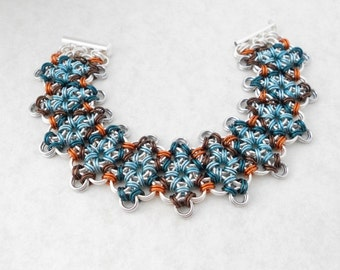 Chainmaille Bracelet, Wide, Japanese Lace, Argyle, Blue, Green, Brown, Orange, Chainmail