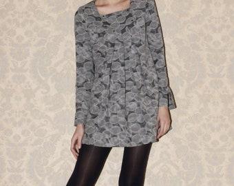 Polka dot dress, grey dress, plissé, made to order