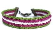 Multistrand Bracelet Faux Leather Wrap Bracelet Pink, Green and White Braided Bracelet