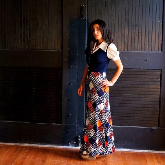 70s Bohemian Layered Patchwork Look Maxi Dress - Small - Marsha Marsha Marsha