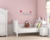 Personalized Name with Butterflies Removable Vinyl Wall Art, customized name girls room butterfly sparkles girls name wall sticker decal