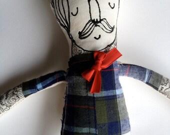 My Little Hipster- Boyfriend- Handmade Art Doll- Painted Plush- Mustache- made to order