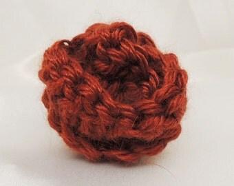 Silky Russet Crocheted Flower Bud