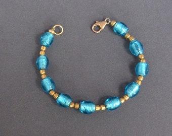 Vintage VENETIAN Glass and Gold Bead Bracelet Fabulous