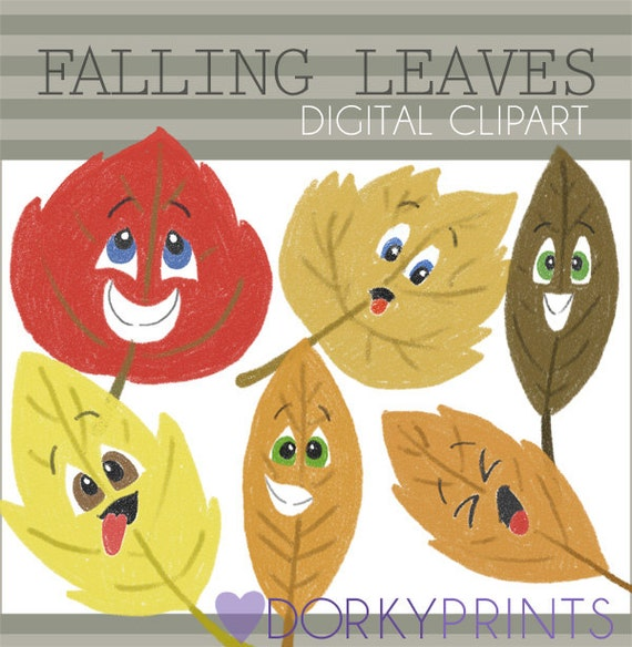 Falling Leaves Clipart -Personal and Limited Commercial Use- Cute Autumn Leaf  Clip art