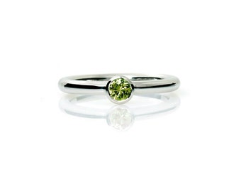 Peridot engagement, palladium, engagement ring, green, solitaire, bezel, wedding ring, thin engagement, green engagement,