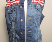 Studded Denim American Vest