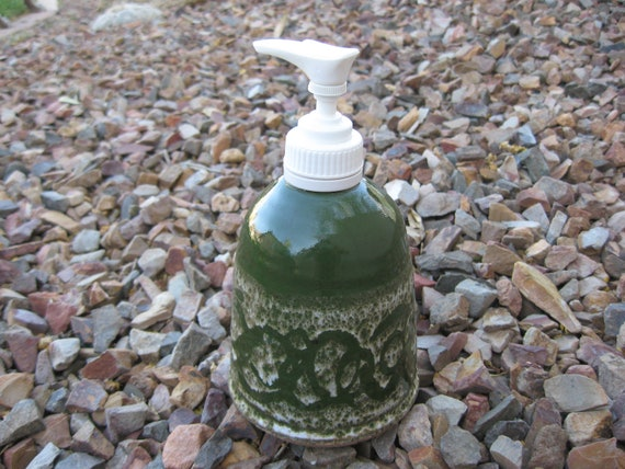 Sandstone Soap Pump,  Hand Lotion Pump with Hand Painted Dark Green, Spring Decor, Scrolled Soap Pump