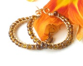 Beaded hoop earrings - amber glass beads, gold brass wire wrapped
