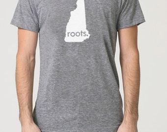 New Hampshire NH Roots Tri Blend Track T-Shirt - Unisex Tee Shirts Size S M L XL